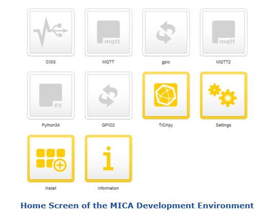 Home Screen of the MICA Development Environment for Edge Computing dhfw2.PNG